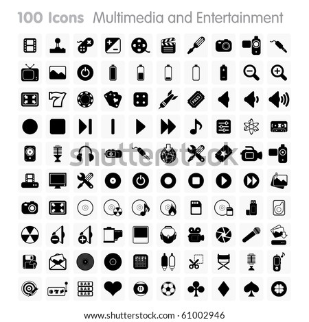 Multimedia and Entertainment Set of icons on white background in Adobe Illustrator EPS 8 format for multiple applications.