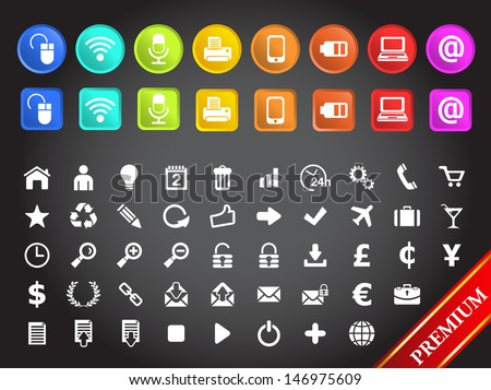 MULTIMEDIA AND STANDARD ICONS Set of icons.  - stock vector