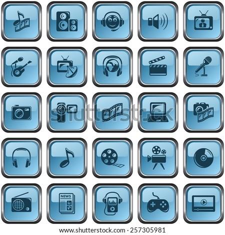 Multimedia button set - stock vector