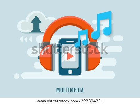 Multimedia Concept of music recording. Headphones and mobile phone. Flat design. Vector Illustration. - stock vector