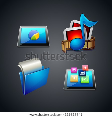 multimedia content illustration film for photo or video . folder. tablet. graph. Icon set - stock vector