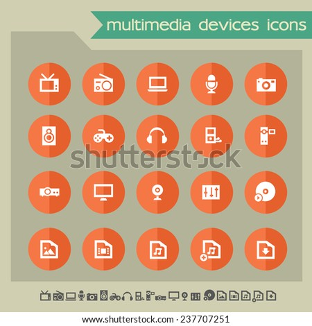 Multimedia devices icons on bright orange flat circles - stock vector