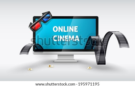 Multimedia display for online watching movies. Eps10 vector illustration - stock vector