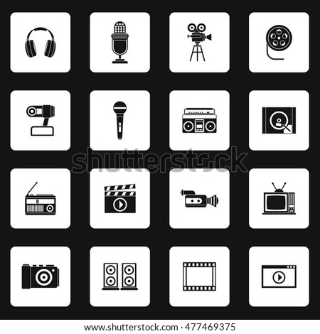 Multimedia equipment icons set in simple style. Electronics set collection vector illustration