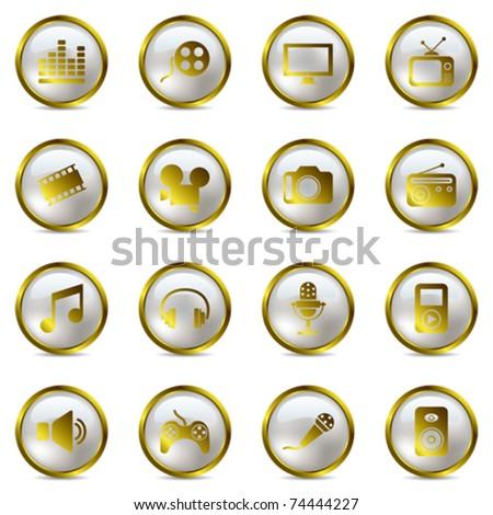 Multimedia gold icons set. Illustration vector. - stock vector