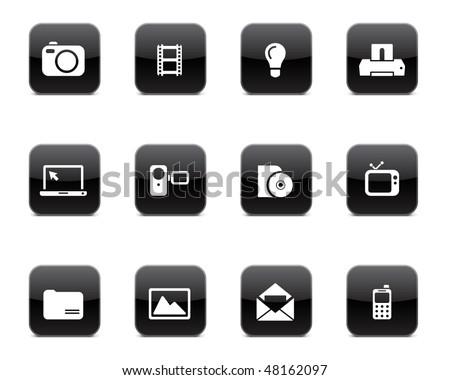 Multimedia icon set - stock vector