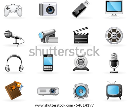 Multimedia icon set - stock vector