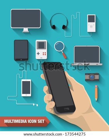 Multimedia icon set, hand holding a phone. Vector illustration - stock vector