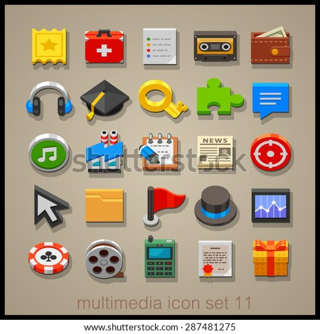 Multimedia icon set. Technology  - stock vector