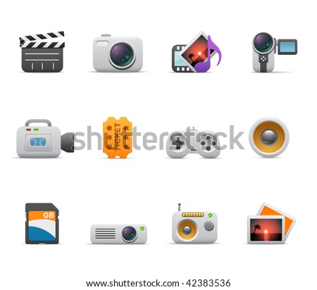 Multimedia icons - stock vector
