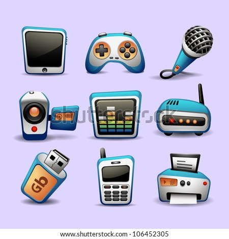 multimedia icons blue color-part 2 - stock vector