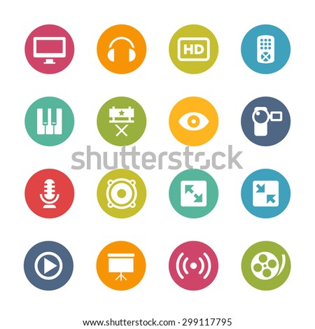 Multimedia Icons, Circle Series - stock vector