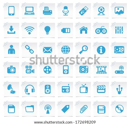 Multimedia Icons on a Notepaper 2.