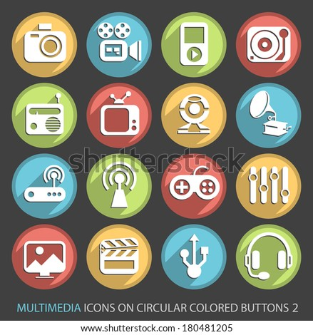 Multimedia Icons on Circular Colored Buttons 2.