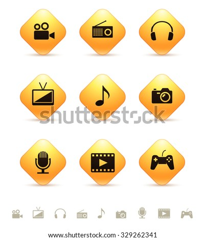 Multimedia icons on yellow rhombic buttons - stock vector