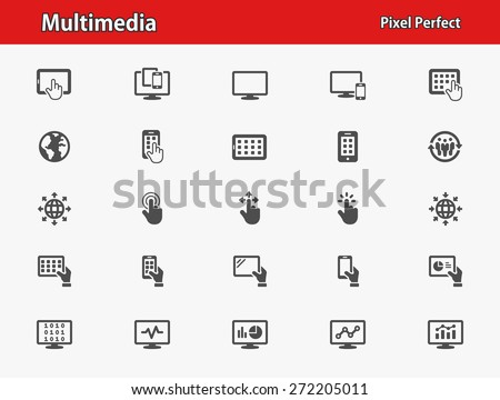 Multimedia Icons. Professional, pixel perfect icons optimized for both large and small resolutions. EPS 8 format. - stock vector
