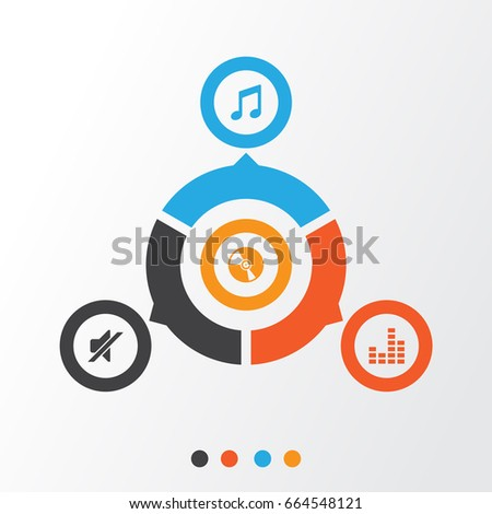 Multimedia Icons Set Collection Silence Cd Stock Vector 664548121