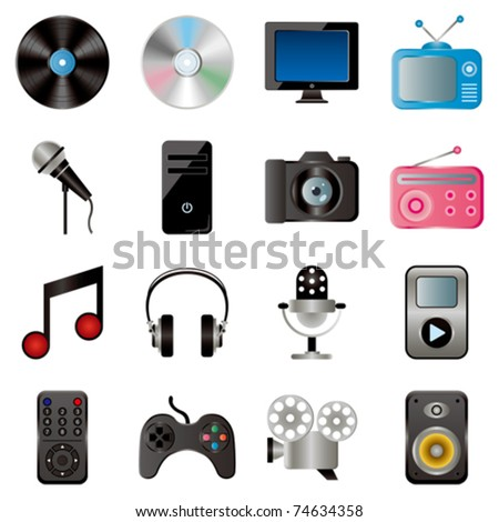 Multimedia icons set. Illustration vector. - stock vector