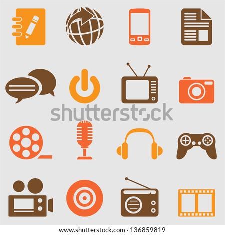 Multimedia icons set.Vector - stock vector