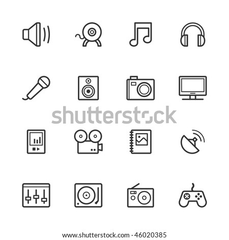 Multimedia icons. Strokes have not been expanded.