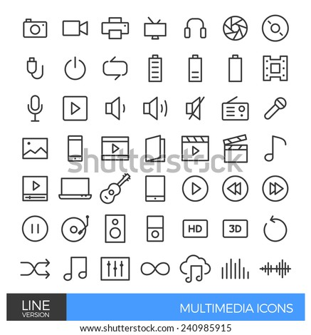 Multimedia Line Icons - stock vector