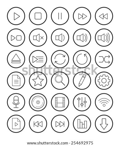 Multimedia linear icons set. Vector illustrations isolated on white - stock vector