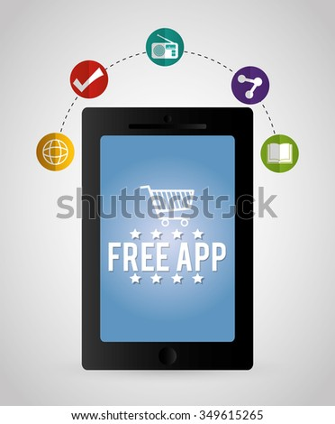 Multimedia mobile applications graphic design, vector illustration