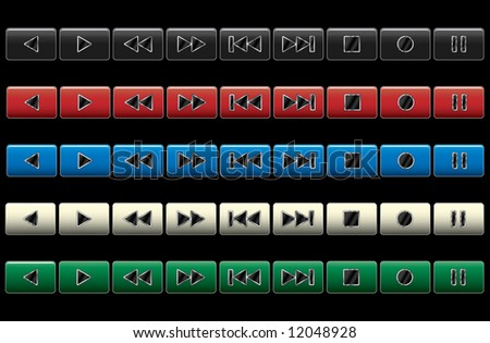 Multimedia navigation buttons. Vector illustration. Color variants.