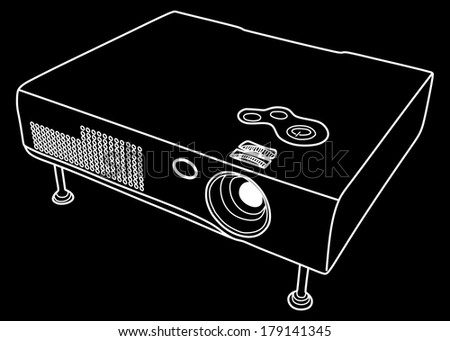multimedia projector on white background, vector illustration
