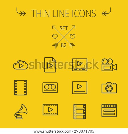 Multimedia thin line icon set for web and mobile. Set includes- phonograph, video camera, clapboard, film, strips, cloud, cassette, tape, arrow, forward icons. Modern minimalistic flat design. Vector - stock vector