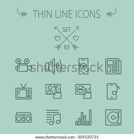 Multimedia thin line icon set for web and mobile. Set includes- speaker volume, notes, knob for volume, equalizer, television, cassette player, newspaper, phonograph icons. Modern minimalistic flat