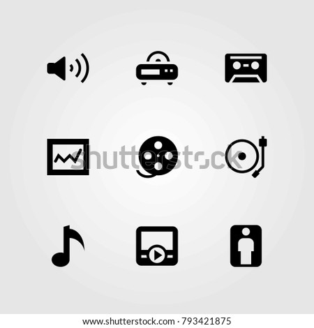 Multimedia vector icons set. radio, musical note and cassette