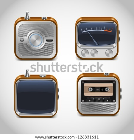 multimedia vector square icons - stock vector