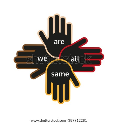 Multinational unity, peace symbol. Hands of different nations. Logo/poster/banner for different races groups, multicultural, ethnicity friendship, worldwide business. United logo. Vector illustration - stock vector