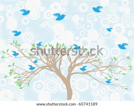 Multiple blue birds perch and fly around tree abstract sky and clouds editable vector illustration