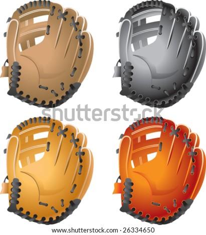 multiple colored baseball gloves - stock vector