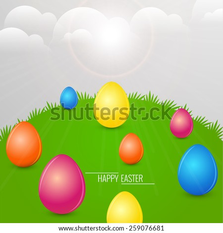 multiple coloured eggs in a grassy land and in a cloudy sky for Happy Easter. - stock vector