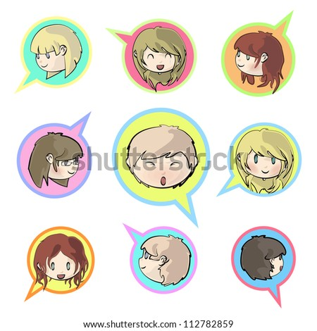 Multiple kids inside a bubble speak. Isolated vector design.