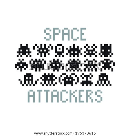 Multiple pixel art 8-bit retro arcade alien characters - stock vector