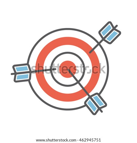Multiple Targets Concept Flat Line Icon