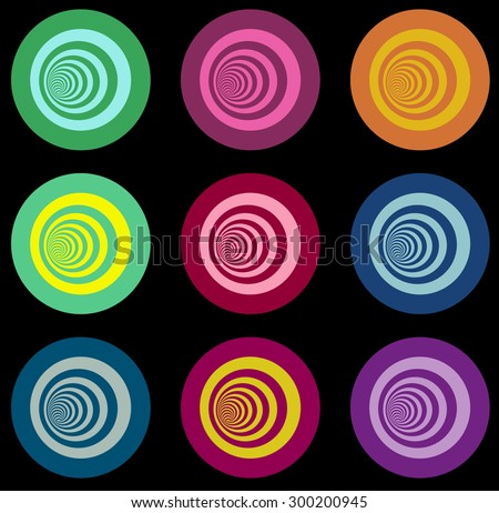 multiple vortex with concentric stripes in different colors - stock vector