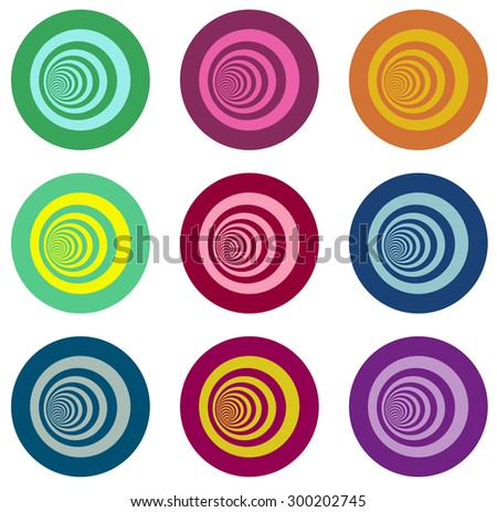multiple vortex with concentric stripes in different colors over white - stock vector