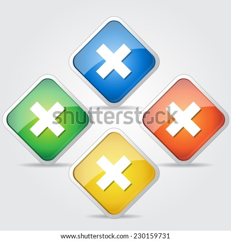 Multiply Colorful Vector Web Button Icon Set - stock vector