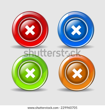 Multiply Sign Colorful Vector Web Button Icon Set - stock vector