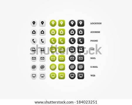 Multipurpose Business Card Icon Set of web icons for business, finance and communication - stock vector