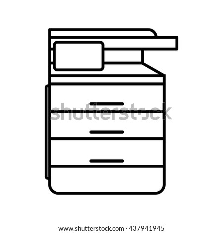 Multipurpose device, fax, copier and scanner icon - stock vector