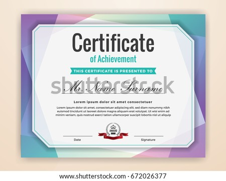 Multipurpose modern professional certificate template design stock multipurpose modern professional certificate template design for print colorful certificate of achievement background vector yadclub Images