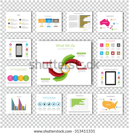 Multipurpose template for presentation slides with graphs and charts - Light color version. Perfect for your business report or personal use. - stock vector