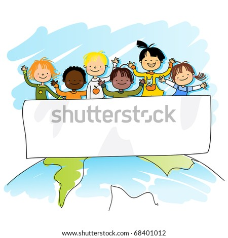 multiracial kids on top of the world with banner for your message, vector illustration - stock vector