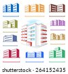 Multistoried building site icons logo set isolated on white background, vector illustration - stock vector